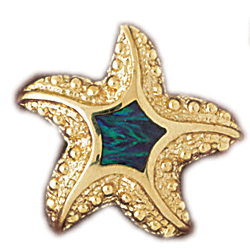 14k Yellow Gold Created Opal Starfish Pendant