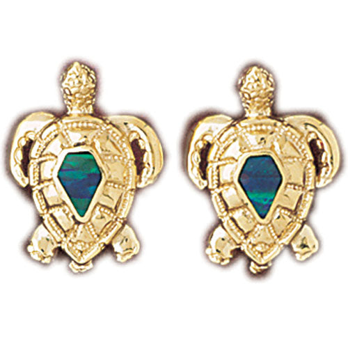 14k Yellow Gold Created Opal Turtle Earrings