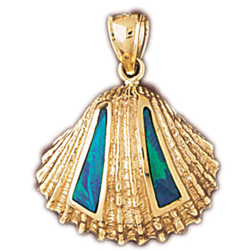 14k Yellow Gold Created Opal Sea Shell Pendant