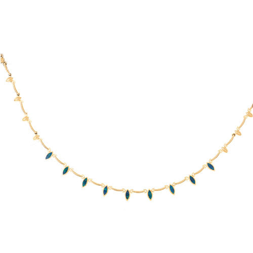 14k Yellow Gold Created Opal Fashion Necklace