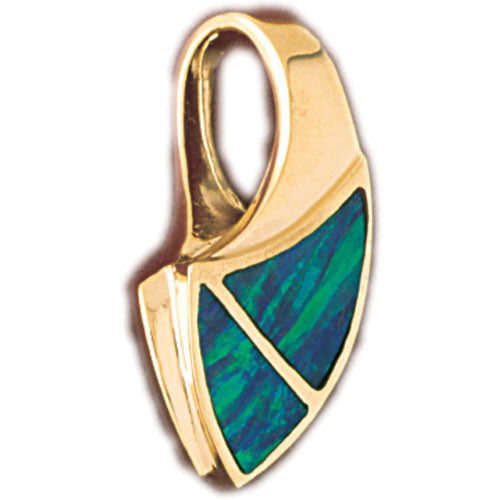 14k Yellow Gold Created Opal Fashion Pendant