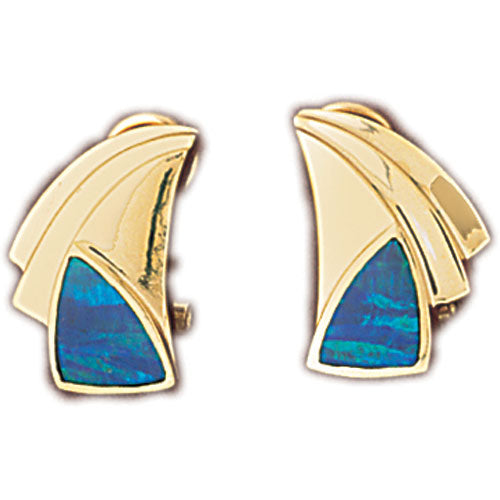 14k Yellow Gold Created Opal Fashion Earrings