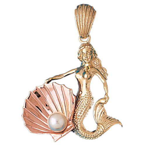 14k Gold Two Tone Mermaid with Shell and Pearl Charm