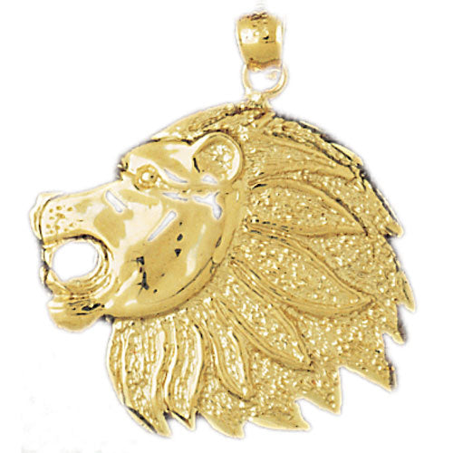 14k Yellow Gold Lion Head Charm