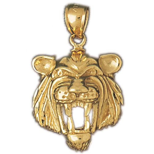 14k Yellow Gold Tiger Head Charm