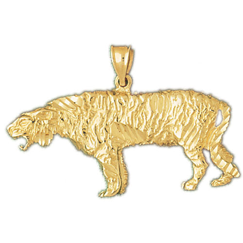 14k Yellow Gold Sabre Tooth Tiger Charm