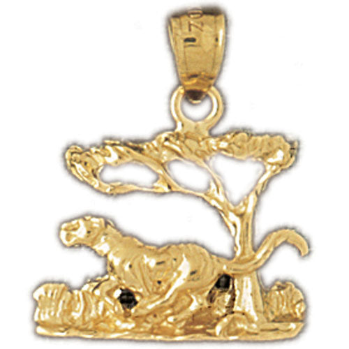 14k Yellow Gold Tiger in the Woods Charm