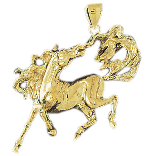 14k Yellow Gold Mustang Charm