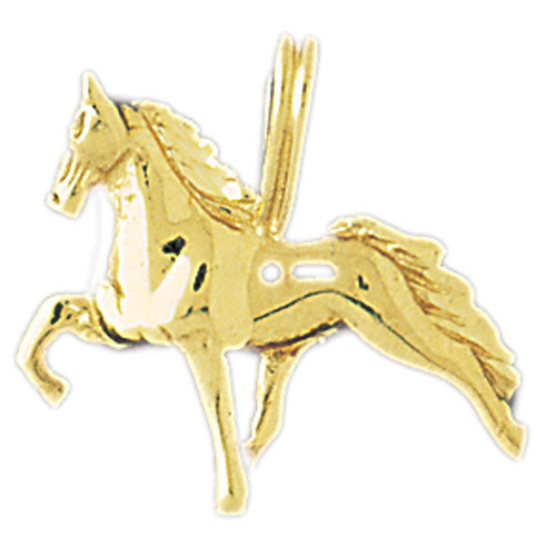 14k Yellow Gold 3-D Horse Charm