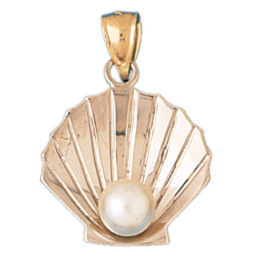 14k Yellow Gold 3-D Shell with Pearl Charm