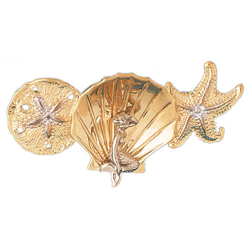 14k Yellow Gold 3-D Sand Dollar, Shell with Mermaid, and Starfish Charm