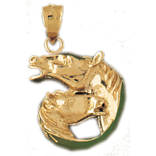 14k Yellow Gold Horse Heads Charm