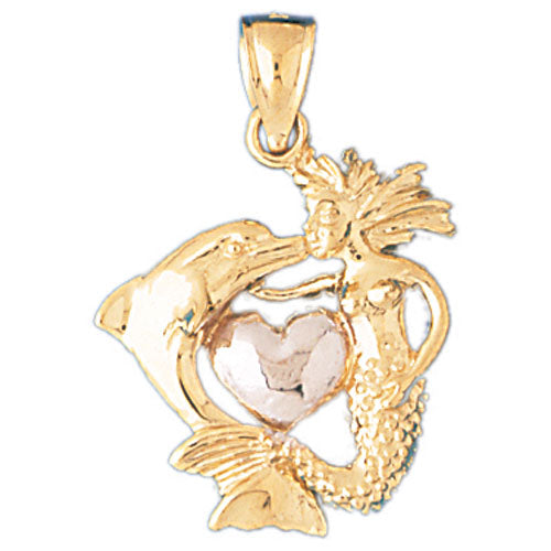 14k Gold 3-D Two Tone Mermaid, Dolphin, and Heart Charm