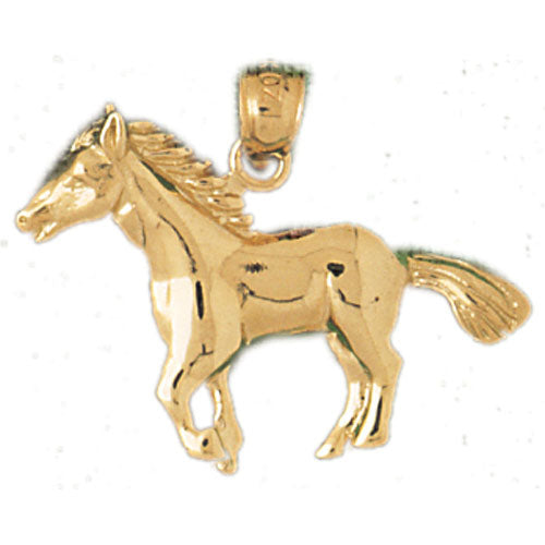 14k Yellow Gold Horse Charm