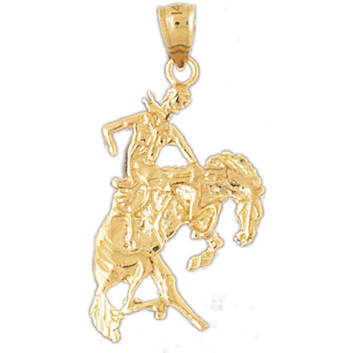 14k Yellow Gold Cowboy and Horse Charm