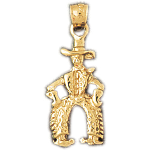 14k Yellow Gold Cowboy Charm