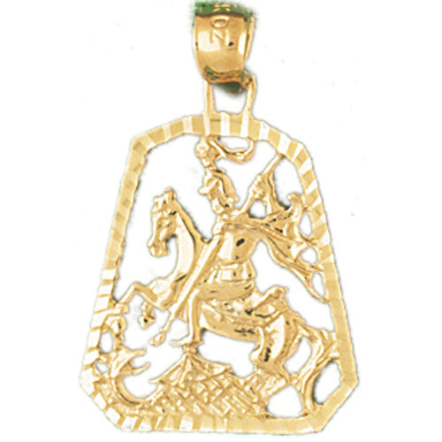 14k Yellow Gold Soldier on Horse Charm