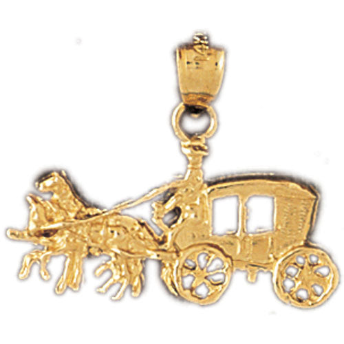 14k Yellow Gold Horse and Wagon Charm