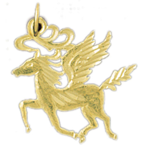 14k Yellow Gold Pegasus Charm
