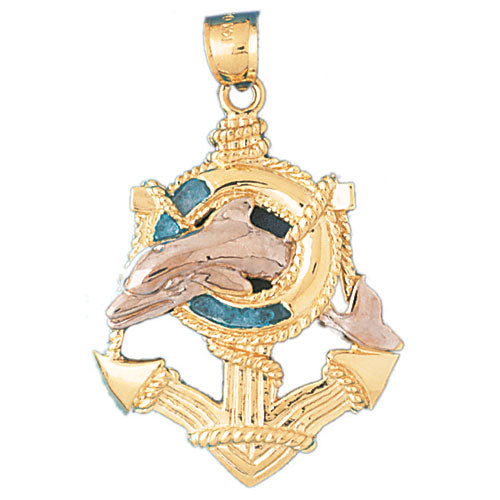 14k Gold Two Tone Anchor and Dolphin Charm