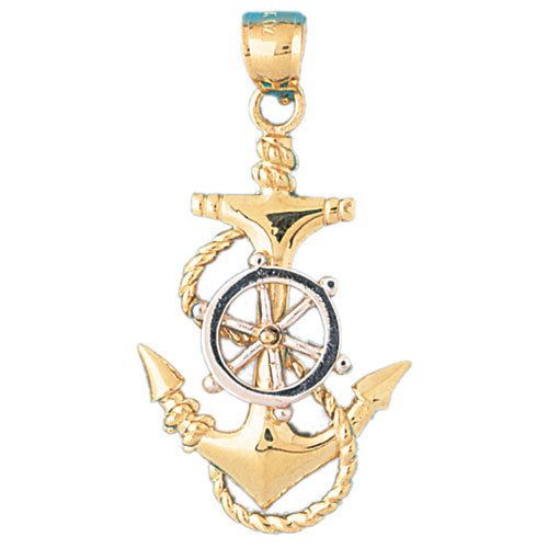 14k Gold Two Tone Anchor and Ships Wheel Charm