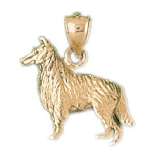 14k Yellow Gold Collie Dog Charm