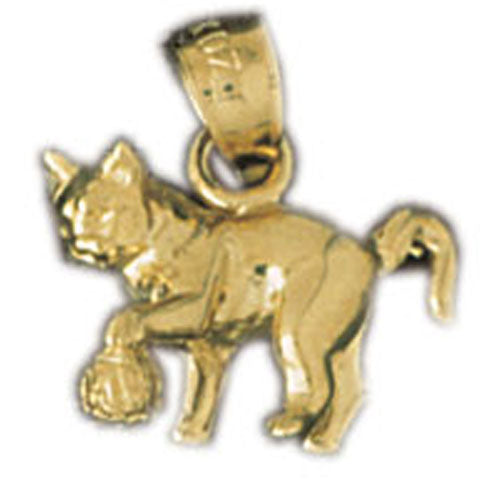 14k Yellow Gold 3-D Cat Charm