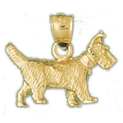14k Yellow Gold 3-D Terrier Dog Charm