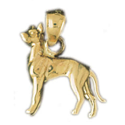 14k Yellow Gold 3-D Doberman Dog Charm