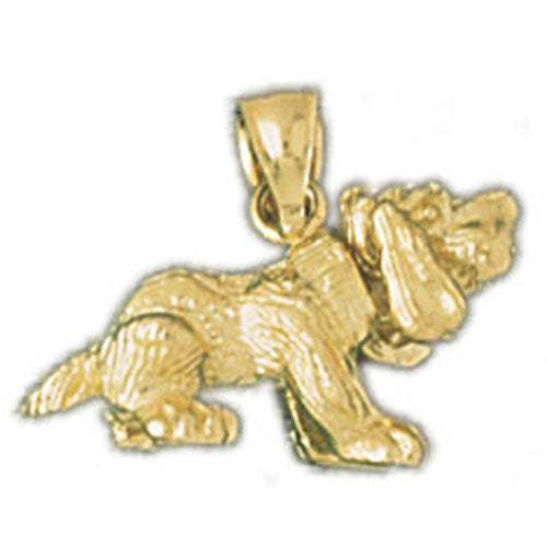 14k Yellow Gold 3-D Basset Hound, moveable Charm