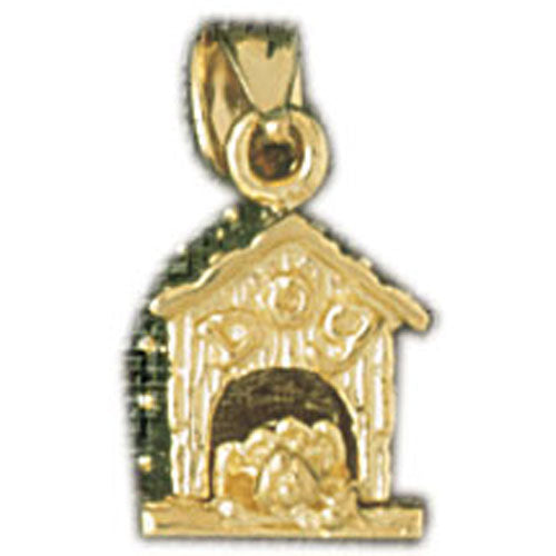 14k Yellow Gold 3-D Dog House Charm