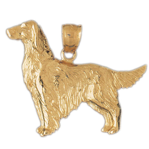 14k Yellow Gold Golden Retriever Dog Charm
