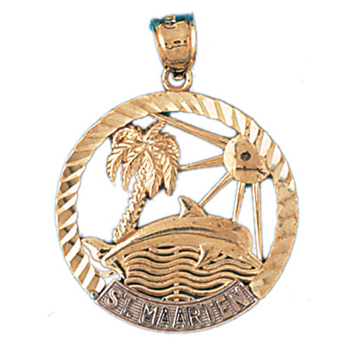 14k Gold Two Tone St. Marten Palm Tree and Dolphin Charm