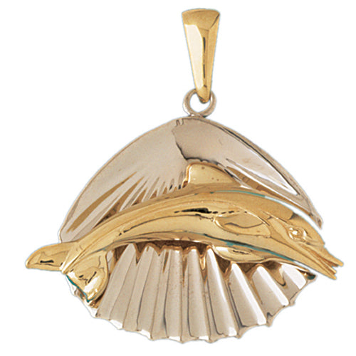 14k Gold Two Tone Shell with Dolphin Charm