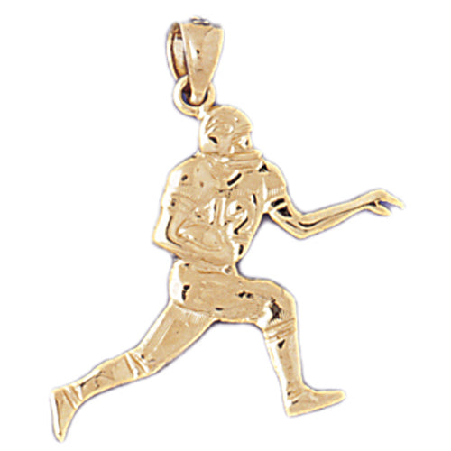 14k Yellow Gold Football player Charm