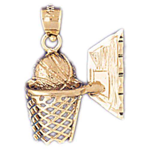 14k Yellow Gold Basketball Basket Charm
