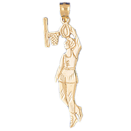 14k Yellow Gold Basketball Player Charm