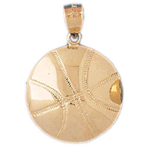 14k Yellow Gold Basketball Charm