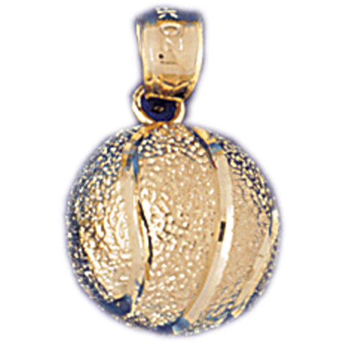 14k Yellow Gold 3-D Basketball Charm