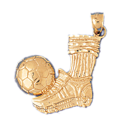 14k Yellow Gold Soccer Ball Charm