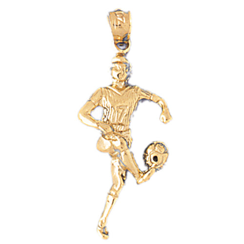 14k Yellow Gold Soccer Player Charm