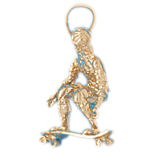 14k Yellow Gold 3-D Skater/Skate Boarder Charm