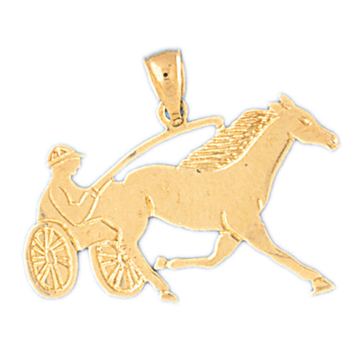 14k Yellow Gold Horse and Chariot Charm