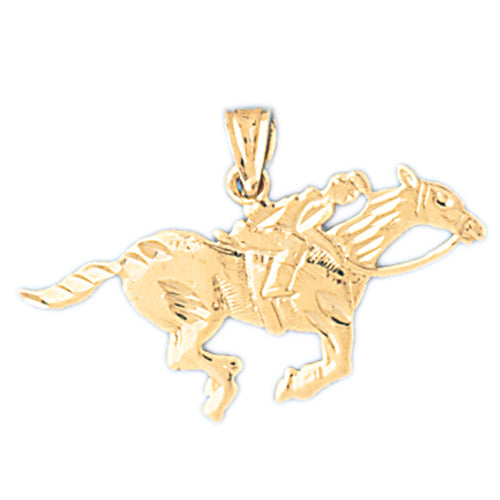 14k Yellow Gold Horse and Jockey Charm