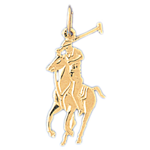 14k Yellow Gold Jockey on Horse Charm