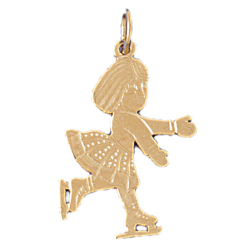 14k Yellow Gold Ice Skater Charm