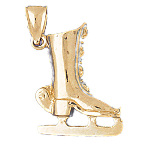 14k Yellow Gold 3mm Ice Skate Charm