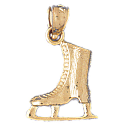 14k Yellow Gold 3-D Ice Skate Charm