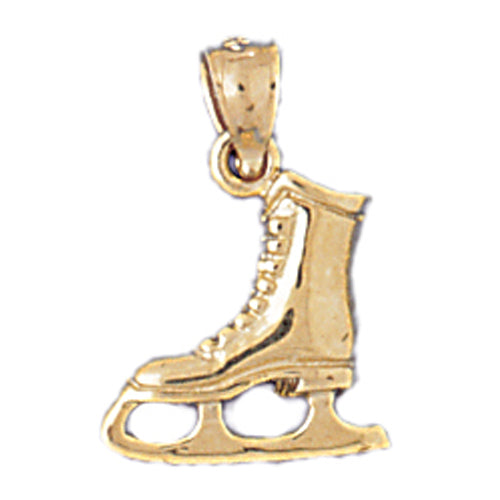 14k Yellow Gold Ice Skate Charm