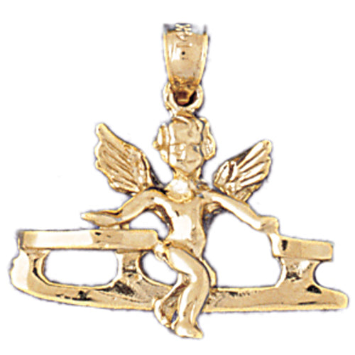 14k Yellow Gold Angel on Ice Skate Charm
